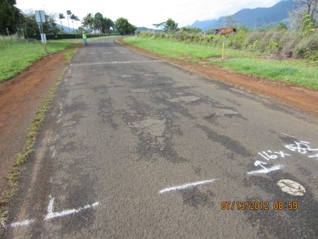 A 16 feet by 34 feet section of Kapaka Road in Princeville is marked for repairs prior to resurfacing.