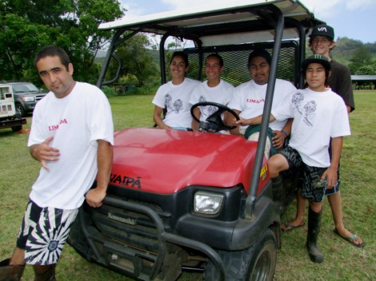 Lima Hana, or Working Hands — Members include Waipa youth Devin Fitzpatrick, front; Marj Milbrand, Rebekah Stevens and Gergly Olter, seated; Kainalu Ham-Young with one foot on the vehicle; and Mikala Crowder standing behind him.