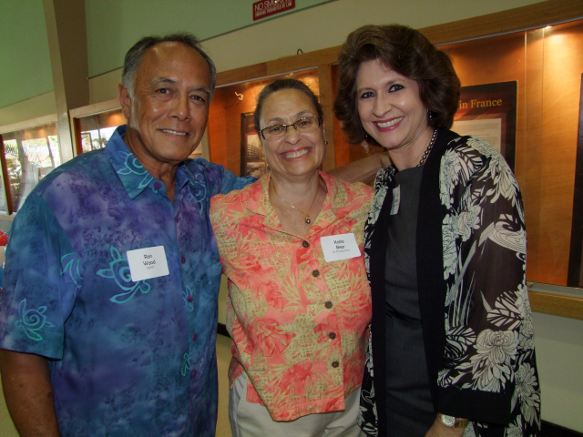 From left: Ron Wood, Katie Beer, Sue Kanoho