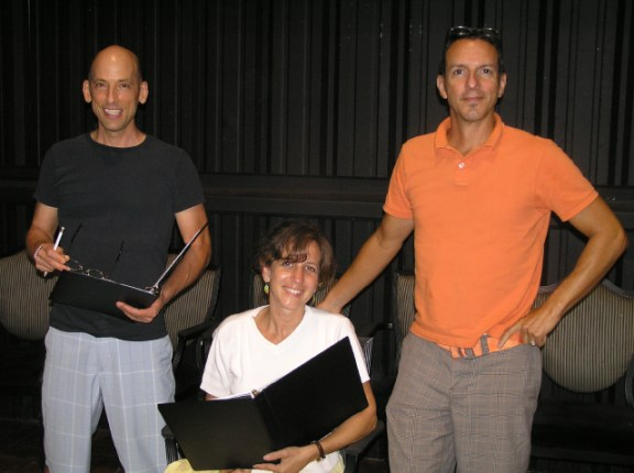 "Actors in the reading of ""8"" (l-r) Jeff Demma and Jessica Silver, rehearse with Director Ross Martineau. Photo courtesy of ""8"""