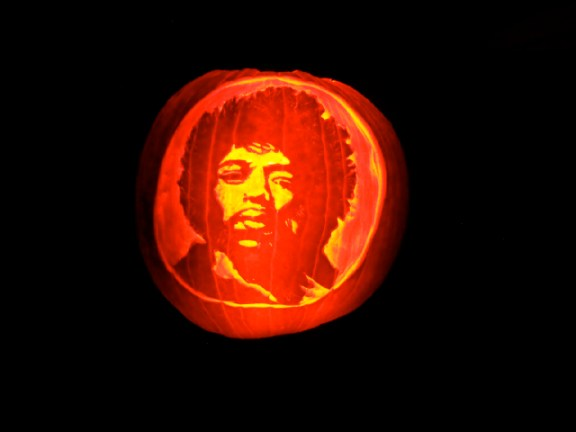 Victor Ascuena of Koloa called on the spirit of Jimi Hendrix as inspiration for this pumpkin he carved. Courtesy photo