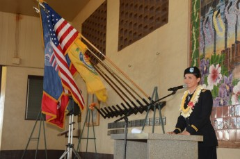 Congresswoman Tulsi Gabbard gave the closing remarks during the Kaua`i Veterans Day Ceremony at Hanapepe Cemetery. Over 25 sailors assigned to the Pacific Missile Range Facility attended annual event.
