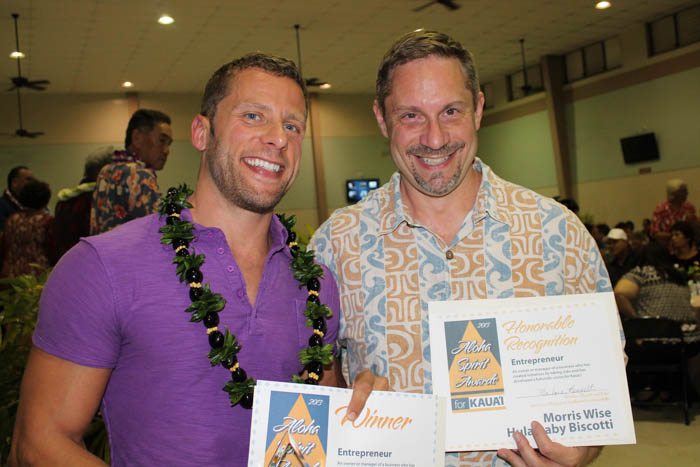 Joshua Nations of Kaua'i Athletic Club and Morris Wise, of Hula Babt Biscotti; Entrepeneur category