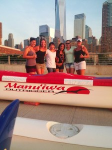 l to r  Rachel Lim, Robin Jumper, Emiko Meyers, Makana Rivera, Shannon Campanero and Kathy Braach, Niumalu Womens Open Liberty Challenge Champions in front of the canoe loaned to them by the Conneticut team.