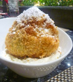 The Hana Hou, a deep fried green tea ice cream, coated in pound cake and rolled in panko, is a juxtaposition — fried and ice. And it totally works!