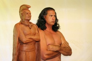 Cultural practitioner and Hawaiian language translator Keao NeSmith models for the statue of King Kaumuali'i.