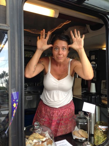 Small Town Coffee co-owner Anni Caporuscio is a serious businesswoman. Seriously. But only when seriousness is needed. Small Town Coffee recently reinvented itself, moving from its former home at Kaua'i Products Fair in Kapa'a to a sleek red coffee bus in the parking lot of the former Kojima's Store just down the road.