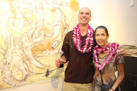 8- Keith Yurdana, with his artwork, and Margaret Ezekiel.