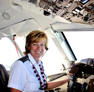 U.S. Airways captain Linda Christopherson, in her 'office,' plans to make Kaua'i her home one day. Five years after first landing on the Garden Isle, the only route she will now fly is from Phoenix to Kaua'i.