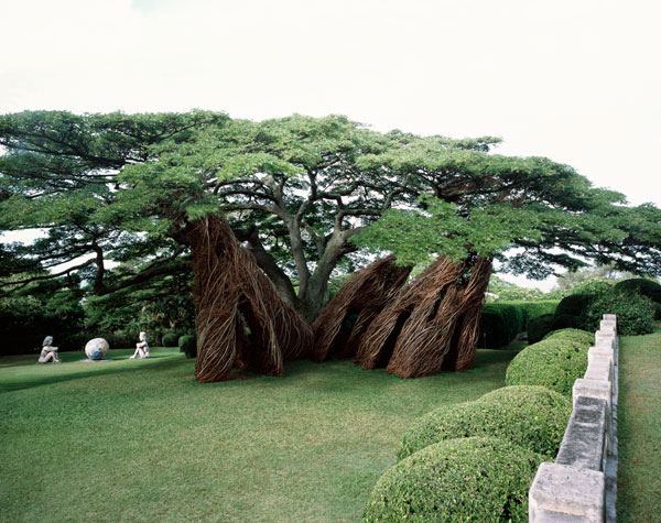 Internationally renowned environmental artist and sculptor Patrick Dougherty's work Na Hale 'Eo Waiawi (2003), was made from strawberry guava and rose apple sapplings (20' x 30' x 30') at the Contemporary Art Museum, Honolulu, Hawaii.  NTBG is seeking volunteers to work with Dougherty during his artist-in-residency at the Garden during November.   Photo by Paul Kodama.