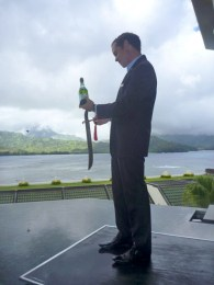 Frank Gianotti performs the St. Regis tradition of sabering the champagne. Usually, it symbolizes the transition from day to night, but he can't let a champagne brunch go by without the ritual.