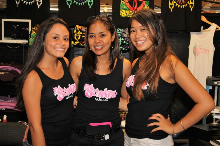 The Scrapa girls, from left to right, Sabrina Schafter, Stephanie Iwasaki and Kelly Meatoga.
