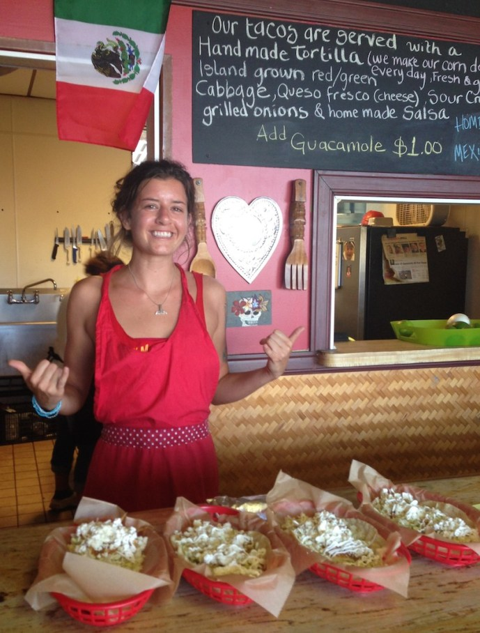 Tiki Tacos in Kapa'a has gathered quite a following in the last couple years, serving tacos made with local fish and Kaua'i grass-fed beef, lamb and pork. And they're the best deal in town, starting at $5 for a large, meal-size taco. Writer Chandley G. Jackson moonlights as a server.