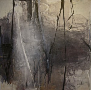 "Black Over, oil on canvas, 72""x27"" by Tom Lieber"
