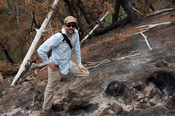 Extension Fire Specialist Dr. Clay Trauernicht on an assessment of the Makakilo Fire on Oahu. Contributed photo.