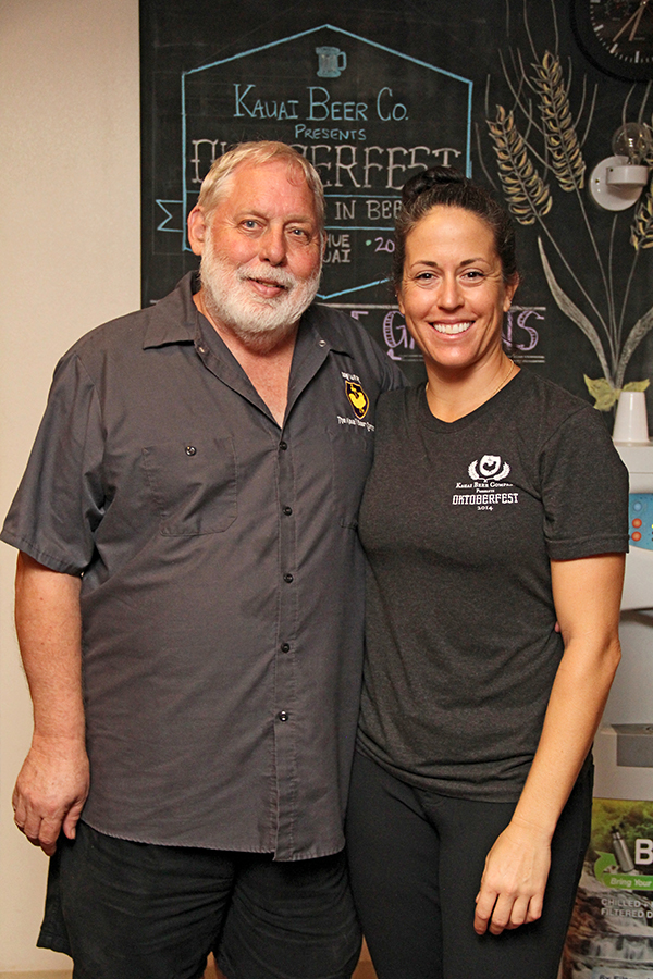 Kaua'i Beer Company owner Jim Gerber and bartender Rachel Ellenberger.