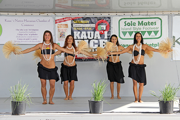 From left to right, Tahitian dancers Sol Jorducha, Noelle McHugh, Bonnie Cardoza and Ilima Ursomarso.