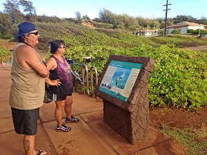 JR and Esther Estes visited from Waimea, Kaua'i's Westside, and bicycled Ke Ala Hele Makalae for the first time in August 2013. Ms. Estes said they rode their Harley motorcycle and saw the path at Kealia Beach, 'so we though we'd check it out.'