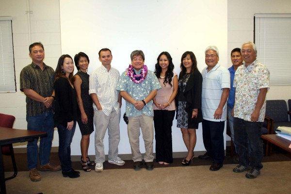 Kirk Saiki, the Department of Water's newly appointed manager and chief engineer, poses for a photo with some of the members of his staff (Lt to Rt): Val Reyna; Kim Tamaoka; Debra Peay; Dustin Moises; Saiki; Mary-jane Akuna; Marites Yano; Eddie Doi; Carl Arume and Keith Aoki.