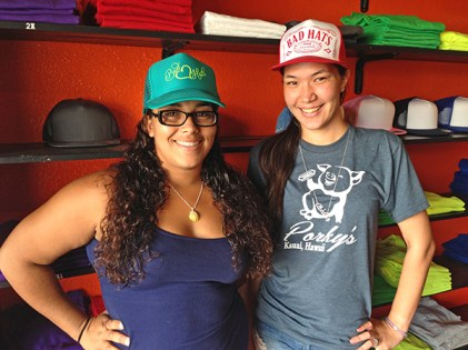 Bad Hats in Hanapepe has recently completed two years in business. Meaghan Sims, left, and Zoe Abreu can help you with some customized hats made just for you.