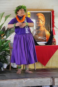 A student from hula halau Kapa Kanaenae O Kaua'i Iki performs at the Russian Fort in Waimea during a celebration of King Kaumuali'i, Kaua'i's last king, last February.