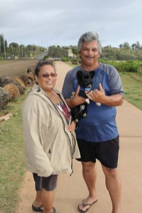 Debbie and Milton Ornellas, of Kapa'a, with their little pooch.
