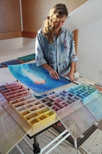 Painter Donia Lilly in her studio.