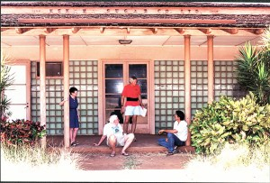 From left to right, Helen Stevens, Bob Stevens, Andy Bushnell and Randy Wichman are seen here in front of the main building of Kekaha Sugar Co. in 2000. Photo by Kaua'i Historical Society