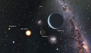 Artist's impression of a view from the HD 7924 planetary system looking back toward our sun, which would be easily visible to the naked eye. Since HD 7924 is in our northern sky, an observer looking back at the sun would see objects like the Southern Cross and the Magellanic Clouds close to our sun in their sky. Art by Karen Termaura and BJ Fulton, UH IfA