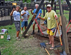 As one of the Earth Day 2015 operations, the Screw Team All-Stars renovated the Swinging Platform in Kamalani Playground. Scott Hansen, Ralph Ziegler, Rod Mockett, and screw master Graeme Merrin have been keeping Kamalani Playground structurally sound for more than 20 years. Contributed photo.