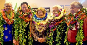 From left, Stanford Yuen, Ren Hirose, Jillian Inouye, Tom Shigemoto and Simeon Acoba, Jr.