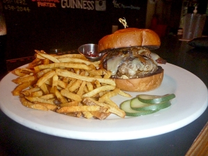 The Feral Burger with house-made French fries and pickles. As far as pub burgers go, this one is luxurious.