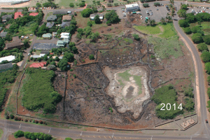 The aerial view in 2014 shows the progress of the vegetation cleanup at Kaneiolouma. Photo courtesy of Hui Malama O Kaneiolouma
