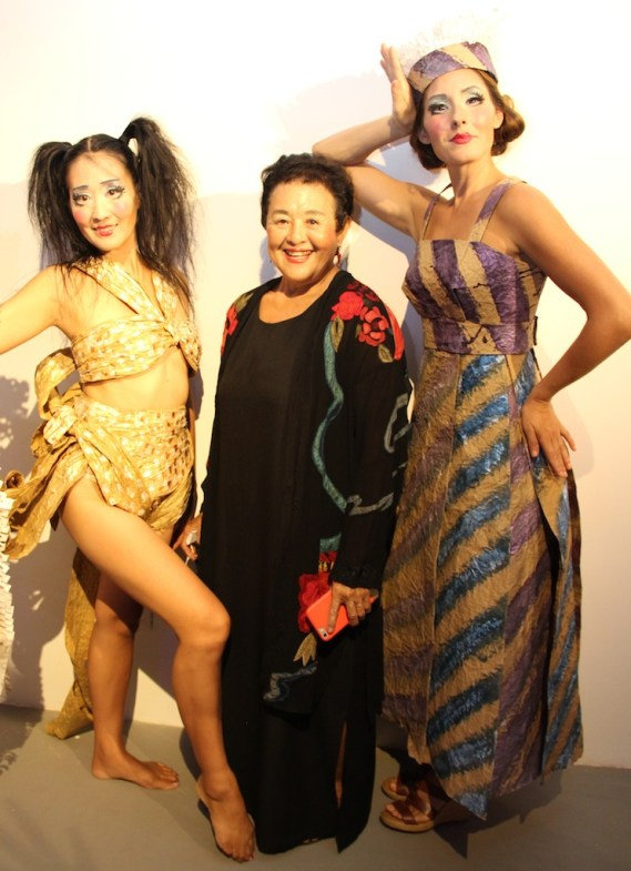 Artist Carol Yotsuda, center, and two models wearing Yotsuda's creations.