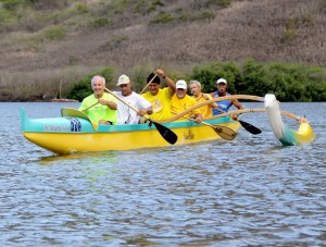 Kaiola Canoe Club members, left to right, Phil Morgan, Kim Matzen, Pepe Trask, Joe Rapozo, Mike McHenry and Arthur Chow are seen here paddling in Niumalu.