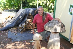 Keith Silva with his hand-carved wooden mushrooms. In the background, logs infused with mushrooms spores will soon be covered with shiitake mushrooms.