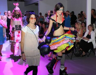 Artist Sally French, left, and a model wearing French's creation.