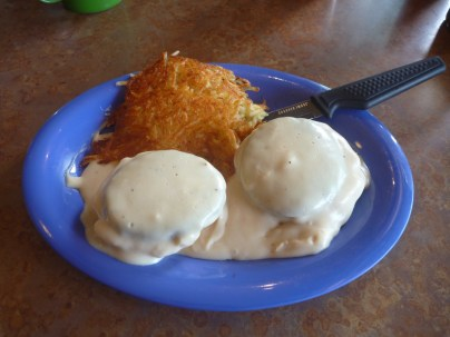 Biscuits and Gravy! Yummy! Kountry Kitchen makes their own biscuits and serves locally made bread.