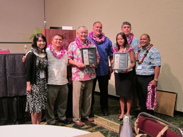 The Hawai'i Chapter of the American Planning Association presented the Kaua'i County Planning Department and PBR-Hawai'i with the 2015 Outstanding Planning and Best Practices awards at the event. On hand (from L to R): Kimi Yuen, senior associate, PBR-Hawai'i; Kaua'i County Planning Director Michael Dahilig; Wayne Katayama, Kaua'i County Planning Commissioner; Kaua'i Mayor Bernard Carvalho, Jr.; Marie Williams, Kaua'i County long range planner;  Louie Abrams, Kaua'i County Planning Commissioner; and Leo R. Asuncion, Jr., state Office of Planning Acting Director.