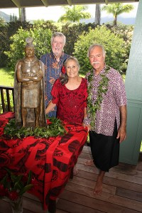 Stu Burley, Aletha Kaohi and Saim Caglayan are seen here during the unveiling of King Kaumali'i's statue at a private event Aug. 29.
