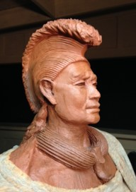 Detail of King Kaumuali'i's statue during its clay stage.