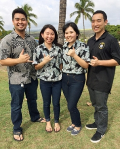 University of Hawaiʻi at Mānoa Hawaiʻi Space Flight Laboratory undergraduate students on launch day, from left, Andrew Nguyen, Tina Li, Christianne Izumigawa, Chase Yasunaga.