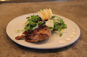 Duck Confit (confit is the method of slow-cook preparation) off the Leafy Stuff section of the menu. It's a whole leg of duck served on a bed of arugula, Asian pear, almonds, brandied cherries and manchego. A very naughty salad.