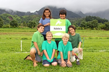 Clockwise from top left, Leina'ala Maka-Adric, Jesus Perez Valenzuela, Kala'e Abrams, Elijah Poch, Sasha Poch and Daniel Kitch in Hanalei, with the Hihimano mountain on the background.