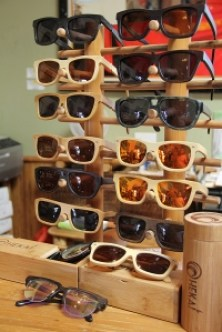 The Ohekai line of bamboo sunglasses.