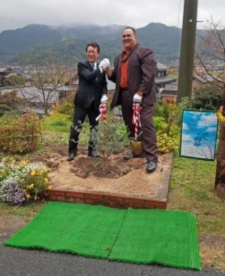 During a trip to Japan in November, Kaua'i Mayor Bernard Carvalho Jr. and Mayor Takumi Shiiki of Suo-Oshima participated in a tree planting ceremony outside the Museum of Japanese Emigration to Hawai'i.