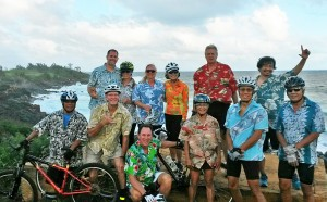 Ugly Aloha Shirt riders in December included (front row) Roland Tanicala, Tommy Noyes, Ugliest Aloha Shirt contest winner Bruce Whale, Audrey Valenciano, Steven Yee and Roy Yamagata. On back row: Scott McCubbins, Lori Stitt, Lori Benkert, Karen Yee, Larry LaSota, and Angelo Catiggay. Photo by Lem Soria