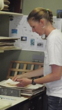 Heather Spalding is seen here examining a limi specimen in the lab. Courtesy of NOAA