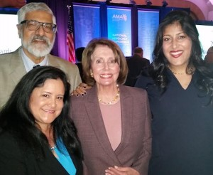 From left to right, Dr. Dileep Bal, Dr. Lee Buenconsejo-Lum, Congresswoman Nancy Pelosi, Sarah Bal.