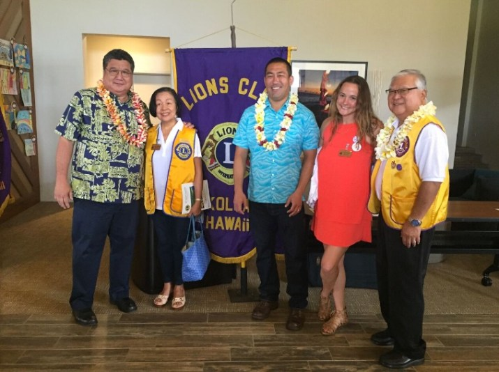 Sen. Kouchi, Belma Barris (Kapaa Lions), Rep. Kawakami, Annie Valentin and Sen. Nishihara at District 50 Lions annual convention.